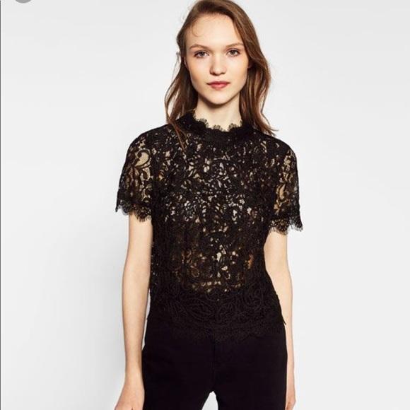 online sale distinctive design brand new Zara Black Lace Top